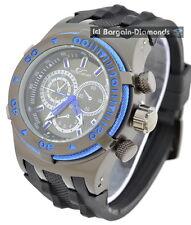 mens black blue steel cable clubbing watch black dial black Euro sport strap