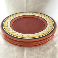 Set of 4 Pier 1 Del Sol Dinner Plates Red Yellow Bands and Dots Hand Painted