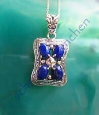 Colgante Cuadrado Estilo Lapislázuli Azul Piedra Plata Esterlina 925