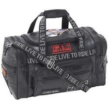 "Diamond Plate Genuine Buffalo Leather LIVE TO RIDE 17.5"" Tote Gym Duffle Bag"