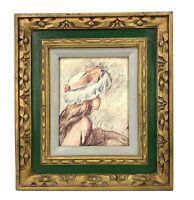 """Vtg Framed Renoir Print """"Little Girl"""" Ornate Gold / Green Frame Shabby Cottage"""