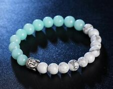 Buddha Bead Bracelet Light Teal/White