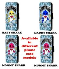 Shark pattern phone case baby mommy daddy design flip faux leather case