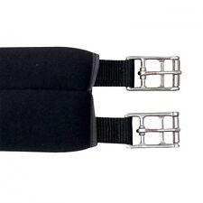 Neopren Sattelgurt mit einseitigem Elast, Schwarz, Länge 130cm