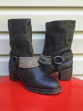 VERA WANG LAVENDER NATASHA LEATHER ANKLE JEWELED HEELED BOOTS BLACK 8 EUC! $421