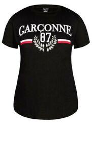 NEW City Chic Black Beaded Garconne 87 T-Shirt Top Size XXL 24