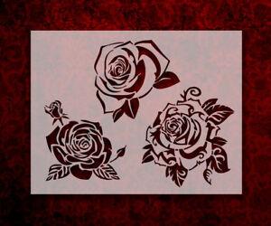 "Roses Three 8.5"" x 11"" Stencil FAST FREE SHIPPING (594)"