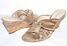 "✿ NINE WEST Kessie Knotted Gold Leather 3"" Cork Wedge Slides 12 M NEW! L@@K!"