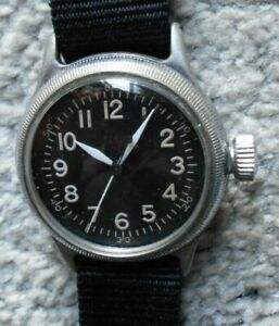 ELGIN MILITARY A.F.U.S. ARMY TYPE A-11 CAL 539 HACK 16 JEWEL MEN'S WATCH