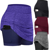 Women Athletic Training Tennis Skirts Inner Shorts Sport Golf Skorts with Pocket