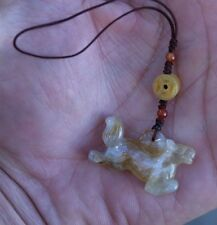 Authentic Hand Carved Natural Jade Stone Horse Zodiac Charm Brown and White
