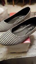 Callies Womens Black/white striped flats,ballet,canvas slip on shoes UK 6