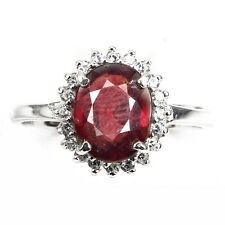 GEM Oval Cut 9x7mm Top Blood Red Ruby SOLITAIRE,W. Cz 925 Sterling Silver Ring 9