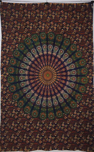 Wall Hanging Handmade Bedspread Indian Ethnic Mandala Twin Size Cotton Tapestry