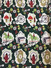 NOS Vintage Barkcloth Fabric Novelty Print Mid Century 1950s 8 YDS Green