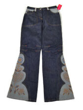 New! $220 OILILY Embroidered Bell Bottom Jeans Size 36/ S Women Pants Flare