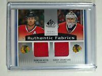 2013-14 UD SP Game Used Authentic Dual Jersey Duncan Keith Corey Crawford AF2-KC