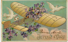 AVIATION BELGIUM 1911 postally used postcard with Airplane – small faults