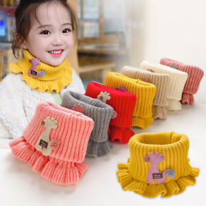 Baby Toddler Boys Kids Girls Winter Warm Knitted Scarves Ruffle Neck Accessories