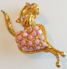 broche bijou rétro vintage chat cabochon rose porcelaine couleur or 302
