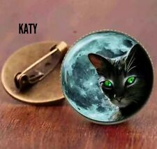 Vintage Style Black Cat Round Small Lucky Brooch Glass Cabochon Spiritual Pin