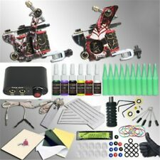 Tattoo Kit 2 Machines Guns Color inks Power Supply Needles Tips Grip 10 Ink Cups