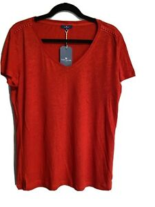 NWT Tom Tailor Women's Linen Red T-shirt Size M
