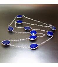 10 gemas de Lapislázuli facetadas en collar de plata de ley
