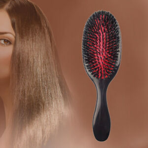 Natural Boar Bristle Oval Anti-static Paddle Comb Scalp Massage Comb Hair Brush