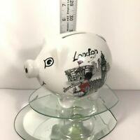 "London City Piggy Bank Ceramic W/ London City View Funny Police Flag 3""Tx5""L C4"