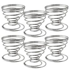 Brand New Silver & Metal Stainless Steel Spring Spiral Stand Holder for Egg 6Set