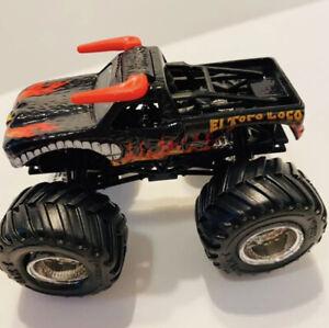 Hot Wheels El Toro Loco Monster Jam Truck Black 2014 1/64 Chrome Rims Rare Horns