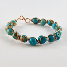 WOMEN'S TURQUOISE & VARISCITE NATURAL GEMSTONE COPPER WIRE WRAPPED BRACELET