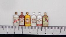 1:12 Misti (6) lo spirito di plastica bottiglie in miniatura casa delle Bambole Accessorio Pub Bar