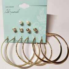 6 Pair Chic Women Gold Silver Metal Big Circle Smooth Large Ring Hoop Earrings