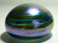 "VINTAGE Signed Iridescent Art Iridescent Glass Flattened Sphere 3 3/4"" diameter"
