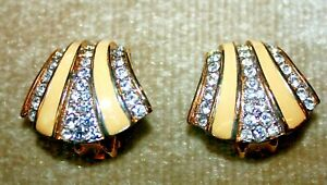 Vintage Retro Clip On Earrings NWOT Yellow Enamel, Clear Crystals