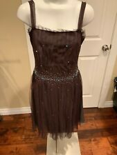 BCBG MAX AZRIA Brown Sequin Tulle Dress, Size 12