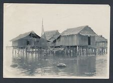 1910's Moro Houses (Built on Water) Philippines Vintage Photo