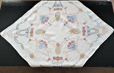 VINTAGE, BEAUTIFUL  CROSS STITCH STYLE TABLE CLOTH  80cm x 80cm - EXCELLENT COND