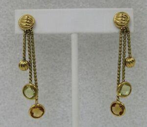 DAVID YURMAN Clio 18K Yellow Gold Citrine Peridot Long Dangle Drop Earrings