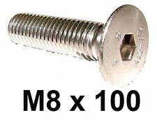 M8 x 100 Stainless Countersunk Allen Bolts - 8mm x 100mm Countersunk Screws x5