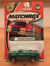Matchbox 50th Anniversary #58 Chevrolet Avalanche Rescue Rookies Green/Grey MOC