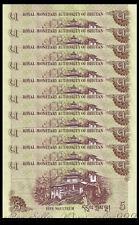 Lot 10Pcs Banknotes,Bhutan 5 Ngultrum Asia Paper Money,2011,P-28,Uncirculated