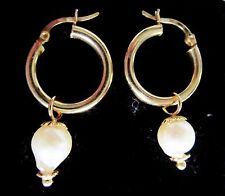 14K Yellow Gold Bed Hoops w/South Sea Baroque Pearl Charm Dangles Earrings