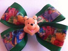 "Girls Hair Bow 4"" Wide Winnie the Pooh Green Ribbon Pooh Flatback Alligator Clip"