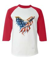 American Flag American Bald Eagle Baseball Raglan T-shirt USA Patriotic Shirts