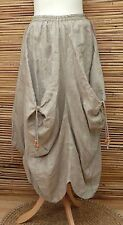 LAGENLOOK LINEN BEAUTIFUL LAYERING BALLOON QUIRKY MAXI SKIRT***BEIGE***SIZE L-XL