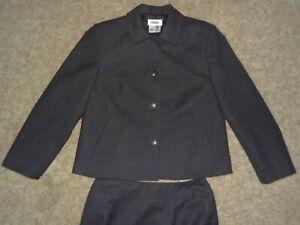 Talbot's Petites Dark Gray Size 6 100% Wool Suit Jacket & Skirt Made in USA