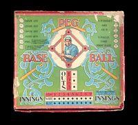 1908 VINTAGE ANTIQUE ORIGINAL PEG BASEBALL BOARD GAME BY PARKER BROS GREAT COLOR